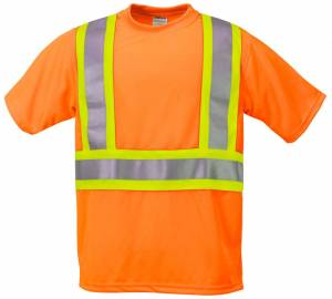 High Visibility Wicking Shirt With Contrasting Color Stripes