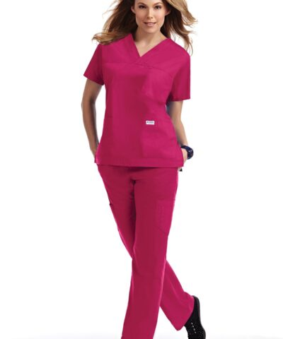 V-neck Three Pocket Flip Flap Scrub Set