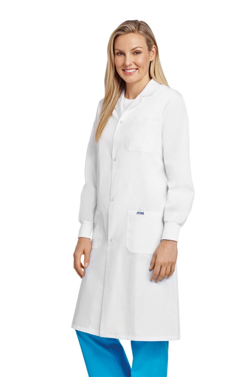 Unisex Snap Lab Coat With Knitted Cuff