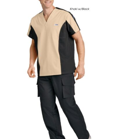 Men's Two Tone V-neck Scrub Set